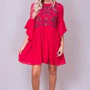 Umgee Bell Sleeve Ruffle Boho Dress